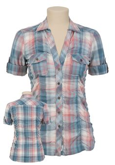 Plaid Button-up Tunic Shirt from Maurices.