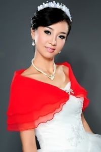 Red bride wedding banquet cocktail wrapped scarf shawl shrug new @!