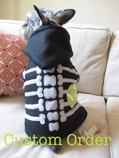 """""""The dog ate the tennis ball"""" Skeleton Dog Hoodie Custom Made to your dogs by SproutandSprout, $35.00"""