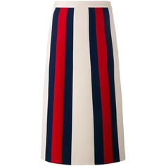 Gucci striped a-line skirt ($1,390) ❤ liked on Polyvore featuring skirts, blue, mid length skirts, a line skirt, blue skirt, panel skirt and mid length a line skirt