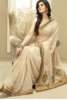 Cream sari!! I will one day make a reason to wear one like this!!!