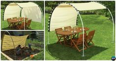 DIY Outdoor PVC Canopy Projects and Instructions, Create adjustable PVC canopy sunshade inspired by suntracking shelter to keep you in shade this Summer