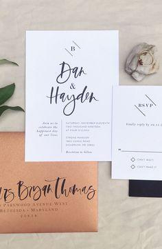Modern industrial wedding invitation suite