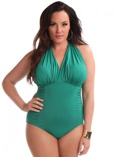 Plus Size Marilyn One Piece Swimsuit, Emerald - LOVE! Hips  Curves is definitely my dream destination for all this underwear. One day, one day!!