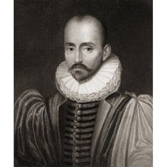 Michel Eyquem De Montaigne 1533-1592 French Writer From The Book Gallery Of Portraits- Published London 1833 Canvas Art - Ken Welsh Design Pics (13 x 16)
