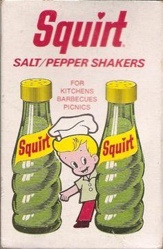 Squirt soda pop! Yummy stuff.    1974 Squirt Soda Salt Pepper Shakers by gregg_koenig, via Flickr