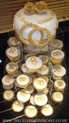 Golden Wedding Anniversary cake and cupcakes (Best Wedding and Engagement Rings at www.brilliance.com)