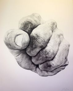 "eatsleepdraw: "" Tension: Fist #1. Ink drawing. """