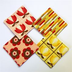4 x Assorted Fabric Coasters - Spicy spring Boho red & yellow blooms by monkeyandbee. #coasters