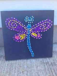 Dragonfly String Art Nursery Decor by TheCoralCanopy