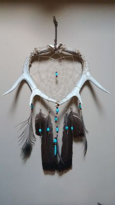Deer Antler Dream Catcher With Turkey Feathers by WoodlandRelicsByStef
