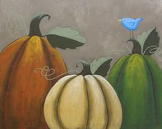 """Social Artworking Canvas Painting Design - Rustic Pumpkins  Paint this neutral-colored pumpkin still life to include in your fall home decor. Change the color of the bird depending on which pop of color you would like to include. Sip a cup of hot cider while you paint to fully immerse yourself in the splendors of autumn.  CANVAS SIZE:  16"""" x 20""""  TIME TO PAINT:  approximately 2 hours"""