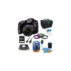 Sony Alpha A65 SLT-A65VK A65VK SLTA65 24.3 MP Translucent Mirror Digital SLR With 18-55mm Lens BUNDLE with 16GB Card, Spare Battery, 57 in 1 Card Reader, 3 Piece Filter Kit, Deluxe Case, LCD Screen Protectors, Lens Cleaning Kit, Dust Blower, Mini HDMI +