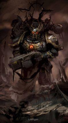 Chaos Space Marine Chosen by Pedro Sena Warhammer 40k Memes, Warhammer Art, Warhammer Models, Warhammer Fantasy, Warhammer 40000, Chaos Legion, Chaos 40k, Sons Of Horus, Space Marine