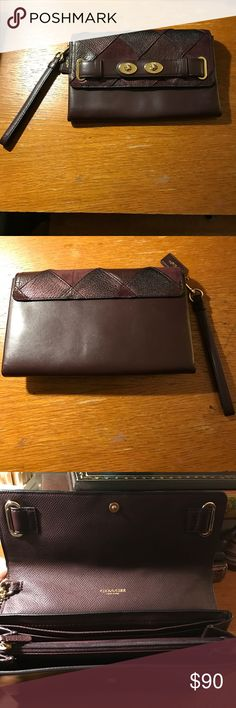 Coach Large Blake Wristlet Wallet This is Coach's most expensive wristlet. Retails over $300! In like new condition in a luxurious cordovan color and a beautiful patchwork pattern In suede, pebbled leather, and metallic caviar leather! Light gold color hardware. Gently used. The best of both worlds, wallet and wristlet: slip pocket for bills, 6 vertical credit card slots, 2 main compartments, AND a center zip. Fits an iPhone 7 plus with a case no problem! Yet compact enough to be an everyday…