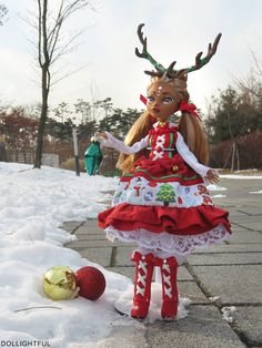 Yulia, the Christmas Reindeer Lolita! Custom OOAK Monster High Clawdeen doll by Dollightful