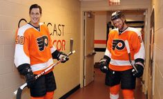 PHILADELPHIA, PA - NOVEMBER 01: Vincent Lecavalier #40 and Sean Couturier #14 of the Philadelphia Flyers share a laugh prior to their game agianst the Washington Capitals