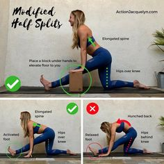 "720 Likes, 17 Comments - Yoga and Barre Instructor (@actionjacquelyn) on Instagram: ""Modified Half Splits! When stretching it's important to lengthen the spine. There are still times…"""