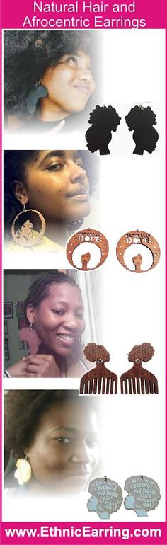 Afrocentric earrings that go great with your natural hair.  We have a huge collection of natural hair earrings. Shop www.EthnicEarring.com today.