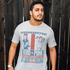 "- Clotheslined Apparel - Vintage Blend Soft T-shirt CM Punk ""When Hero Met Punk"""