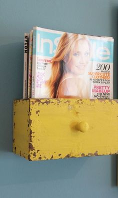 This vintage drawer magazine storage idea from Itsy Bits and Pieces would be right at home in a shabby/chic abode.