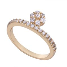 Fashion 18K Gold Plated High Quality Jewelry Copper Finger Ring Inlay White Zircon Three Sizes