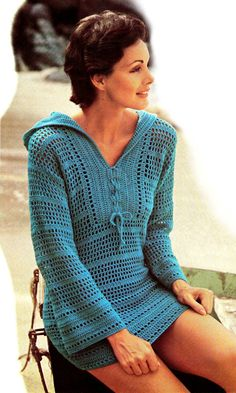 Vintage 70s Pattern Crochet HOODED Bikini Cover-Up - PDF for purchase