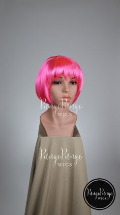 Hot Pink Wig /Short Bob Cut + Side Part, Bangs/ Rave Fairy Costume Elf Cosplay Burlesque Pinup Party Pokemon My Little Pony Valentines Day by PungoPungo on Etsy