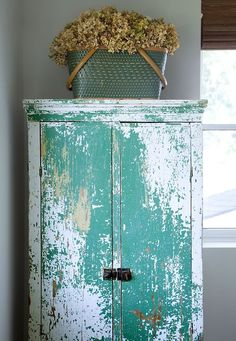 vintage girl Country Cupboard, Antique Cupboard, Country Farmhouse Decor, Antique Cabinets, Primitive Furniture, Distressed Furniture, Vintage Furniture, Primitive Cabinets, Turquoise Cottage