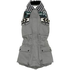 Miu Miu Embellished Cotton-Blend Playsuit ($2,965) ❤ liked on Polyvore featuring jumpsuits, rompers, grey, grey romper, miu miu, gray romper and playsuit romper
