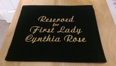 Reserved for First Lady Pew sash, pew scarf Pantone Color, Gold Embroidery, Embroidery Fonts, Pew Markers, Reserved Signs, Your Message, Sash, Spelling