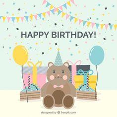 Background of teddy bear with birthday gifts #Free #Vector  #Background #Birthday #Invitation #Happybirthday #Party #Gift #Box #Cake #Giftbox #Anniversary #Celebration #Happy #Bear #Confetti #Present #Birthdayinvitation #Backdrop #Balloons #Gifts #Birthdaycake