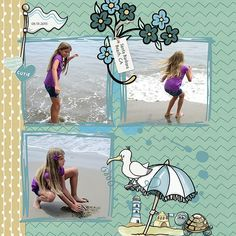 Cooling Off at the Beach kit by SoMa Design is available at Oscraps: [ link ], digital scrapbooking & artistry Santa Barbara Beach, Digital Scrapbooking, Whimsical, Kit, Cool Stuff, Daughter, Shop, Design, Cool Things