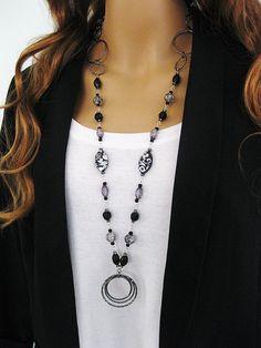 Long Black Beaded Necklace, Chunky Black, Beaded Necklace, Black and Gunmetal, Gunmetal Necklace, Long Chunky Black Necklace, N-766