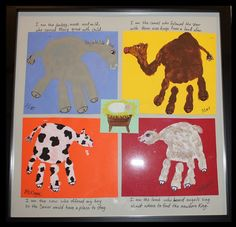 "Handprint Nativity Animals: lyrics to ""The Friendly Beasts"" around. Laminate final product"