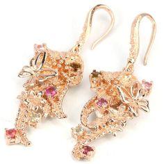 925 Sterlingsilber Fine Art Ohrringe Diamond Granat Einzigartig Vergoldet SchmetterlingGewicht 16.30 gramGröße 20 x 50 mm ( diam)Aus ThailandGRATIS VERSAND
