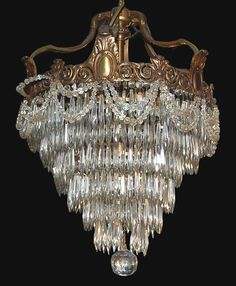 French Bronze & Crystal Waterfall Chandelier Circa 1880 from Legacy Antique Furniture, Lighting, Decorative Arts and Design in Dallas, TX
