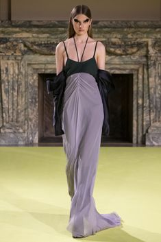 Lavender and black silk chiffon draped halter gown with charmeuse draped sleeves  Green chiffon bra