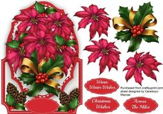 A lovely over the edge card to make and give with Beautiful Poinsettias and Pine Cones , has three greeting tags and a blank one ,