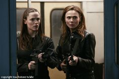 "Jennifer Garner as Sydney Bristow and Lena Olin as her mother Irina Derevko in ""Alias"" TV."