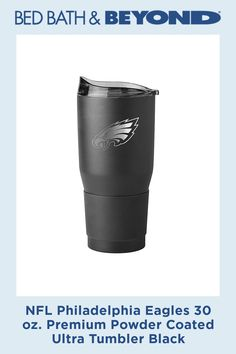 Celebrate your favorite NFL team while enjoying your favorite drink on the go with this 30 oz. Double-walled, vacuum insulated design features a laser etched team logo on a black matte stainless steel body. Philadelphia Eagles Apparel, Pro Football Teams, Golf Stores, Team Logo, Tumbler, Powder, Black, Products, Drinkware