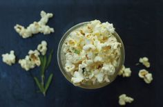 little monster: rosemary parmesan microwave popcorn