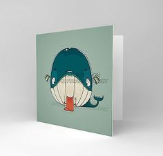 Cat #whale #funny cartoon #greetings blank #greetings birthday card art cs281,  View more on the LINK: 	http://www.zeppy.io/product/gb/2/111506539575/