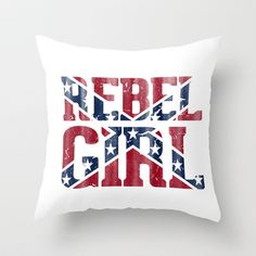 Rebel Girl Vintage Southern Confederate Flag Throw Pillow by RexLambo - $20.00