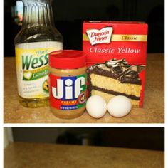 Peanut butter cookies: 1 box yellow cake mix, 2 eggs, half cup of oil and a cup of peanut butter. Bake for 10 minutes at 350 for the easiest, most delicious peanut butter cookies ever! Cake Box Cookies, Cookie Cake Pie, Cake Mix Cookie Recipes, Dessert Recipes, Cake Mixes, Baking Cookies, Xmas Cookies, Cookie Bars, Dessert Ideas