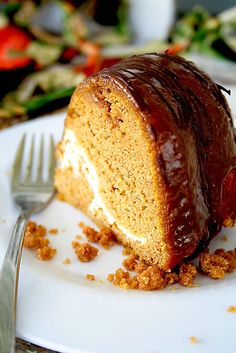 Pumpkin Cream Cheese Bundt Cake. The frosting is baked right inside the cake!