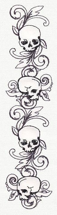 Toile Noir - Skull Border Vertical design from Urba Sewing To Sell, Sewing Art, Trendy Tattoos, Unique Tattoos, Embroidery Designs, Embroidery Ideas, Tattoo Sleeve Filler, Tim Burton Art, Dark And Twisty