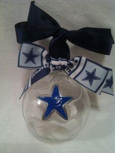 Hand painted Christmas ornament, Football ornament, Dallas ornament