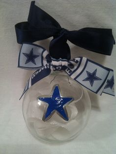 Hand painted Christmas ornament, Football ornament, Dallas ornament