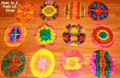 Tie Dye Easter Eggs (coffee filter + bingo marker). Fold coffee filter several different ways. Dab with bingo marker. Open and let dry.